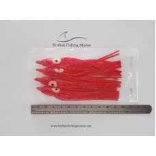 Squid Skirt Lure - 4 inch - Red - 4 pack